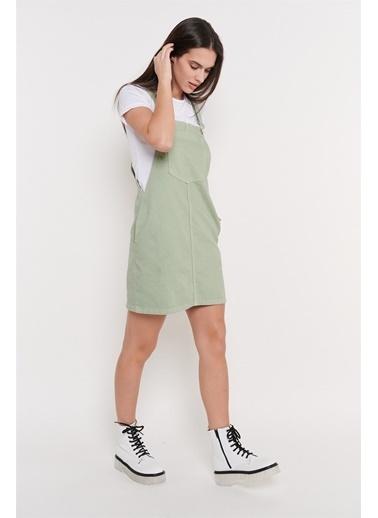 Levure Önü Cepli Pamuk Salopet Elbise Yeşil